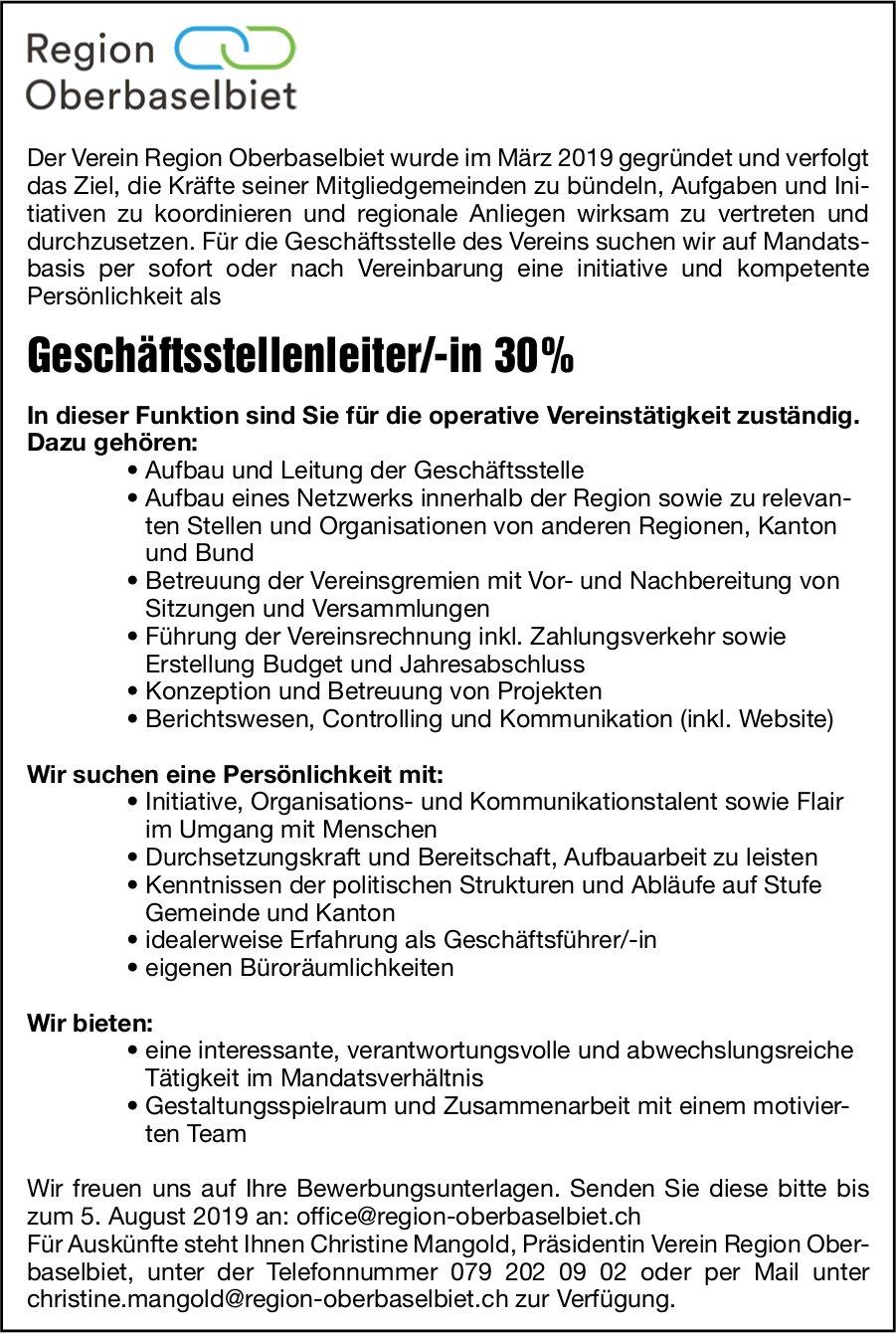 Geschäftsstellenleiter/-in, Verein Region Oberbaselbiet, gesucht