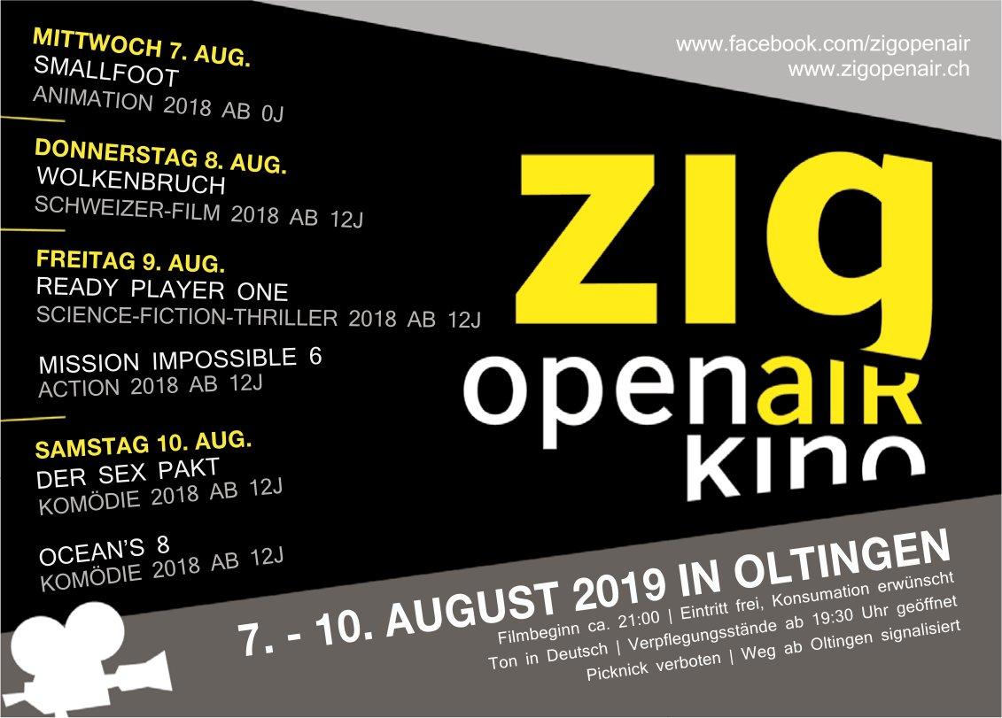 Zig Open Air Kino, 7. bis 10. August, Oltingen
