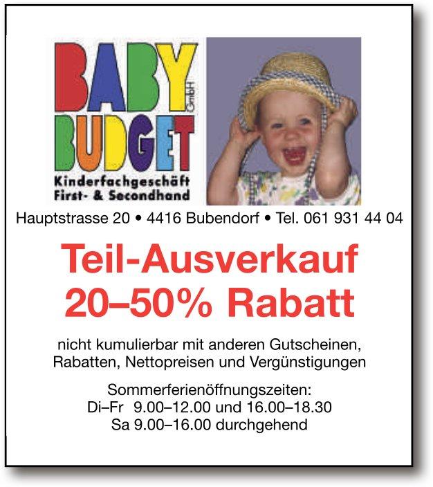 Baby Budget: Teil-Ausverkauf