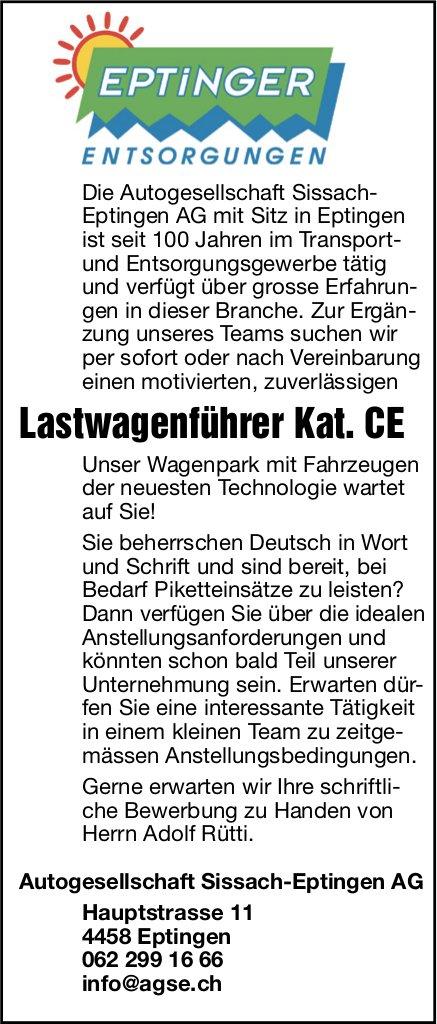 Eptinger Entsorgungen sucht: Lastwagenführer Kat. CE