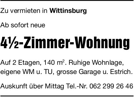 4.5-Zimmer-Wohnung, Wittinsburg, zu vermieten