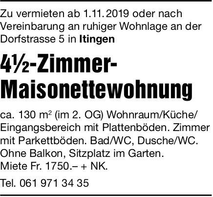 4.5-Zimmer-Maisonettewohnung, Itingen, zu vermieten