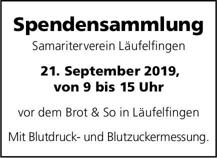 Spendensammlung, 21. September, Samariterverein, vor dem Brot & So, Läufelfingen