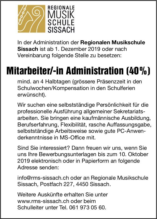 Mitarbeiter/-in Administration, Regionale Musikschule Sissach, gesucht