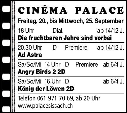 Cinéma Palace Sissach - Vorstellungen