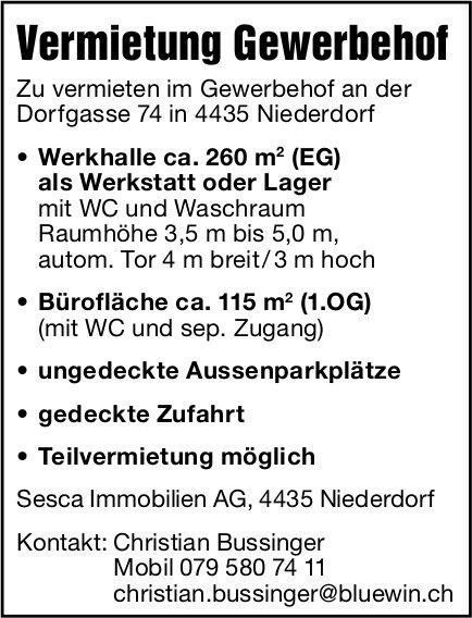 Vermietung Gewerbehof, Niederdorf