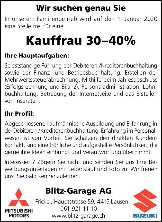 Kauffrau, Blitz-Garage AG, Lausen, gesucht