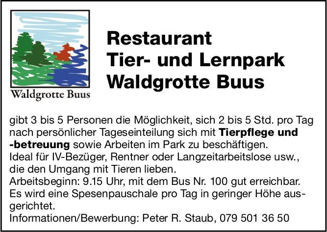 Restaurant Tier- und Lernpark Waldgrotte Buus, Tierpflege und -Betreuung