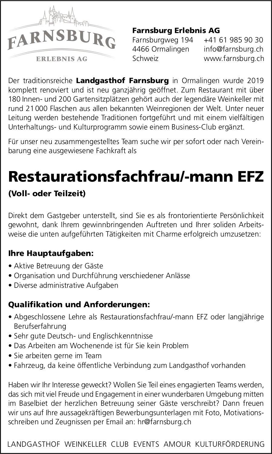 Restaurationsfachfrau/-mann EFZ gesucht