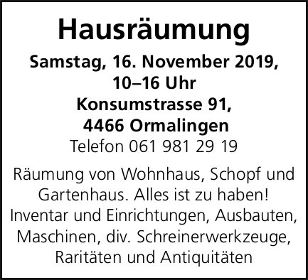 Hausräumung, 16. November, Ormalingen