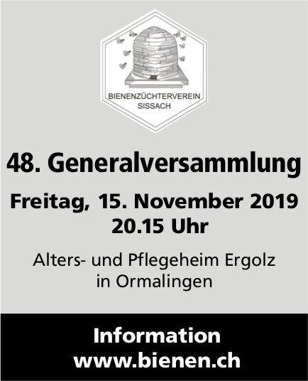 48. Generalversammlung, 15. November, Alters- und Pflegeheim Ergolz, Ormalingen