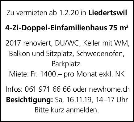 4-Zi-Doppel-Einfamilienhaus 75 m2, Liedertswil, zu vermiteten