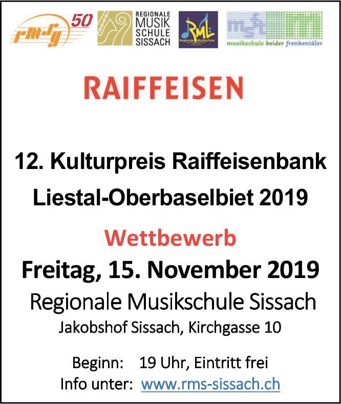 12. Kulturpreis Raiffeisenbank, 15. November, Regionale Musikschule, Jakobshof, Sissach