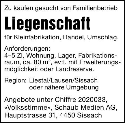 Liegenschaft, 4-5 Zimmer, Region Liestal/Lausen/Sissach, zu kaufen gesucht