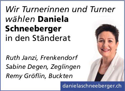 Wir Turnerinnen und Turner wählen Daniela Schneeberger in den Ständerat