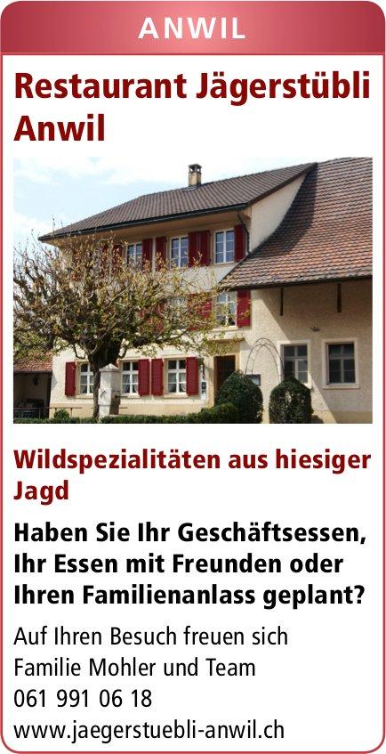 Restaurant Jägerstübli, Anwil - Wildspezialitäten aus hiesiger Jagd