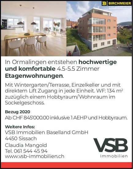 Hochwertige Etagenwohnungen in Ormalingen zu verkaufen