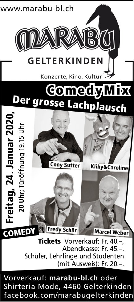 Comedy Mix, Der grosse Lachplausch, 24. Januar, Marabu, Gelterkinden