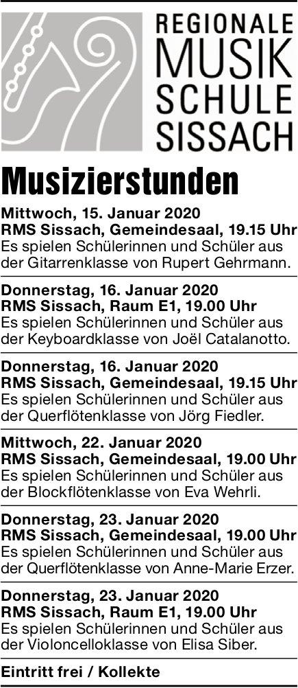 Regionale Musikschule Sissach, 15. bis 23. Januar, Musizierstunden