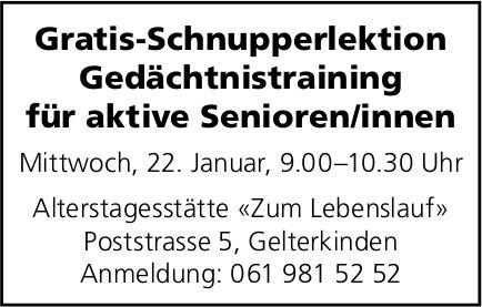 Gratis-Schnupperlektion Gedächtnistraining für aktive Senioren/innen am 22. Januar