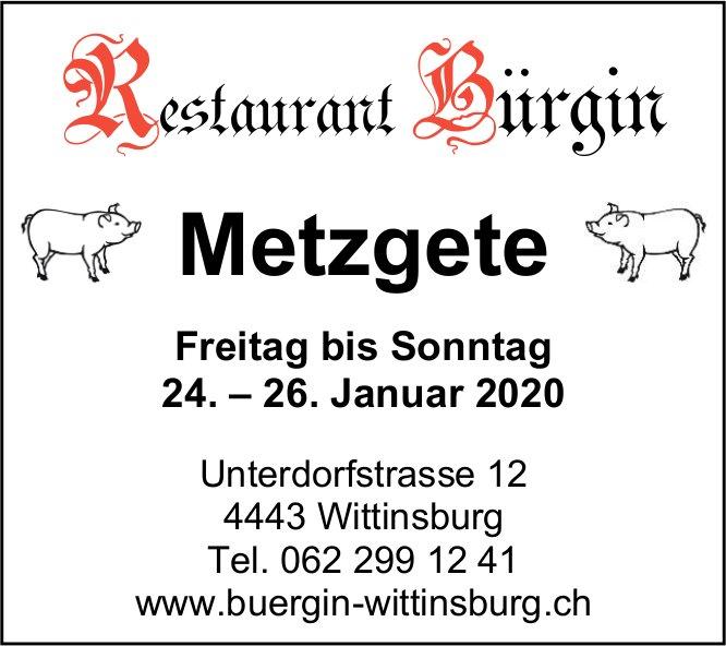 Metzgete im Restaurant Bürgin Wittinsburg