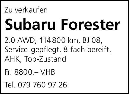 Zu verkaufen Subaru Forester