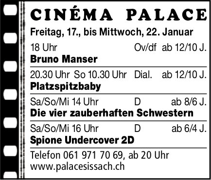 Programm Cinema Palace Sissach