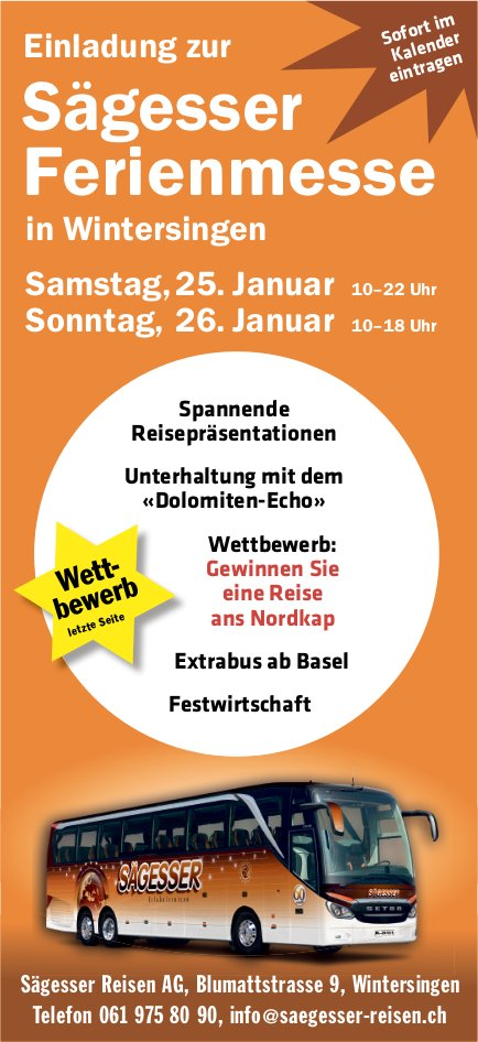 Sägesser Ferienmesse, 25. und 26. Januar, Wintersingen
