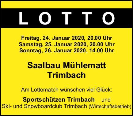 Sportschützen und Ski- und Snowboardclub, Lotto, 24. bis 26. Januar, Saalbau Mühlematt, Trimbach