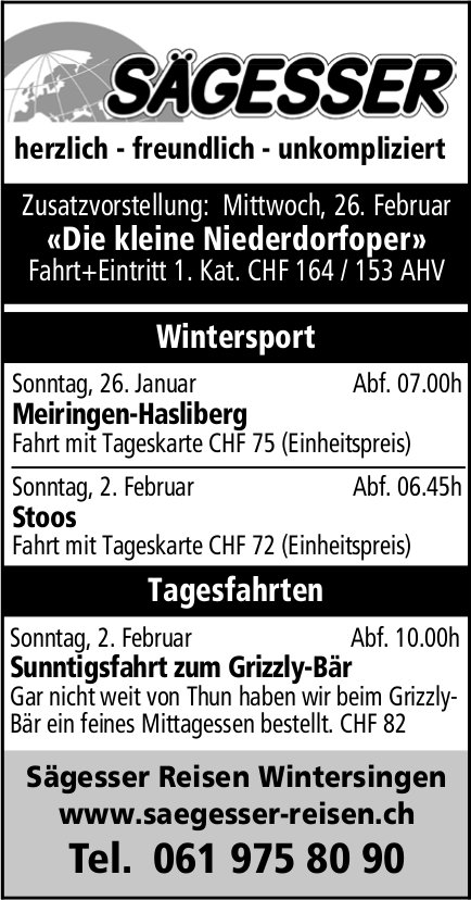 Sägesser Reisen,  Wintersingen, Reiseprogramm