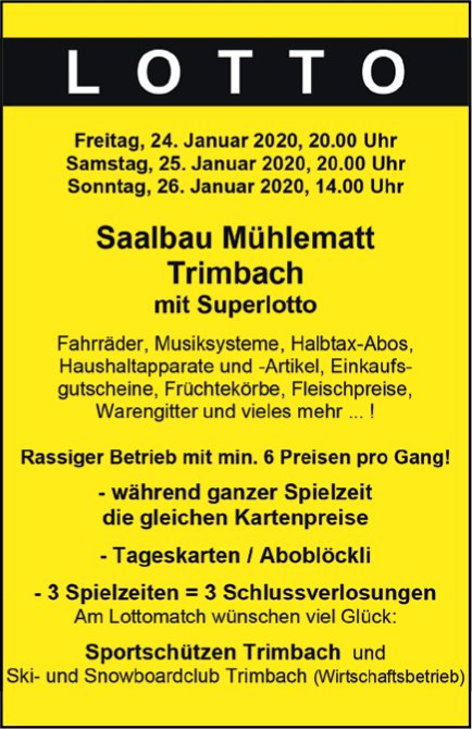 Lotto vom 24. bis 26. Januar in Trimbach