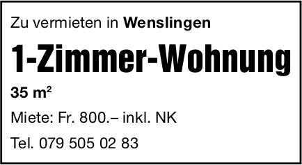 1 Zimmer-Wohnung, Wenslingen, zu vermieten