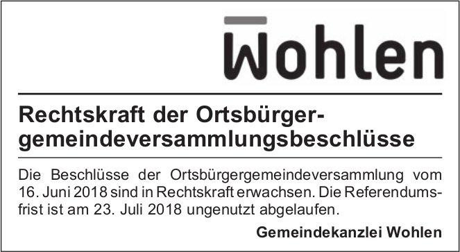 Gemeindekanzlei Wohlen - Rechtskraft der Ortsbürger gemeindeversammlungsbeschlüsse
