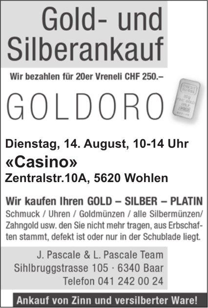 """Gold- und Silberankauf am 14. August im """"Casino"""" Wohlen"""