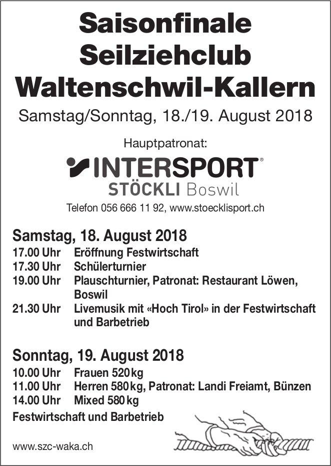 Saisonfinale Seilziehclub Waltenschwil-Kallern, 18./19. August