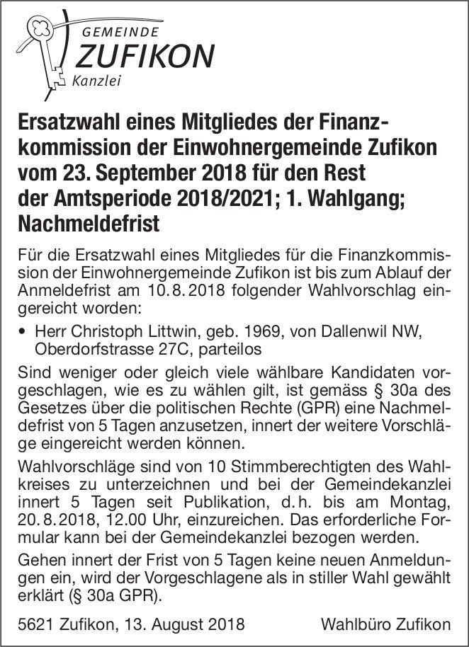 Gemeinde Zufikon: Ersatzwahl eines Mitgliedes der Finanzkommission