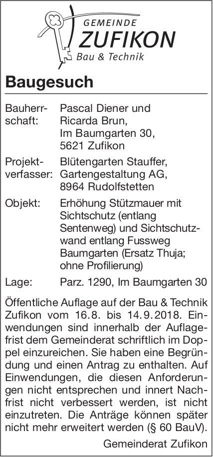 Gemeinde Zufikon: Baugesuch