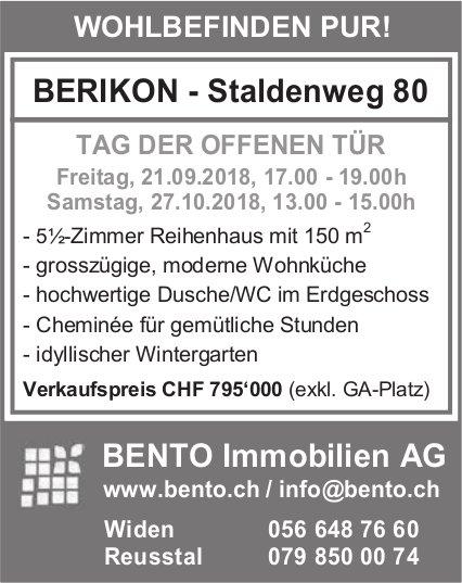 5½-Zimmer-Reihenhaus in Berikon zu verkaufen - Tag der offenen Tür, 21. September / 27. Oktober