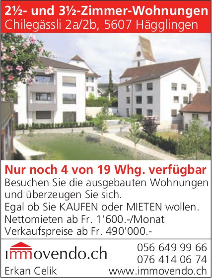 2½- und 3½-Zimmer-Wohnungen in Hägglingen zu verkaufen
