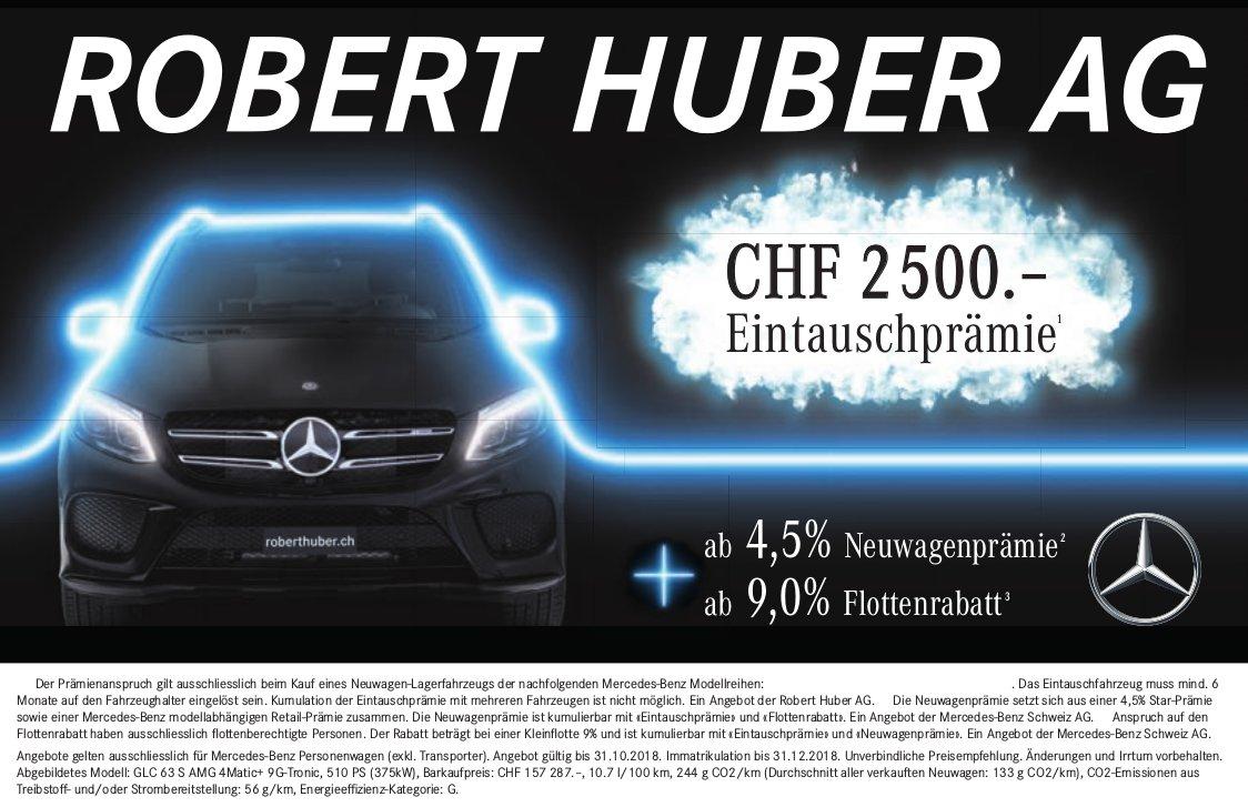 CHF 2'500.- Eintauschprämie, Robert Huber AG