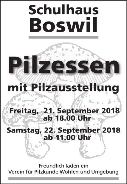 Pilzessen mit Pilzausstellung, 21./22. September, Schulhaus Boswil