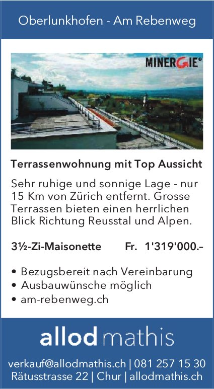Oberlunkhofen - Am Rebenweg - 3½-Zi-Maisonette zu verkaufen