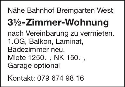 3½-Zimmer-Wohnung Nähe Bahnhof Bremgarten West zu vermieten
