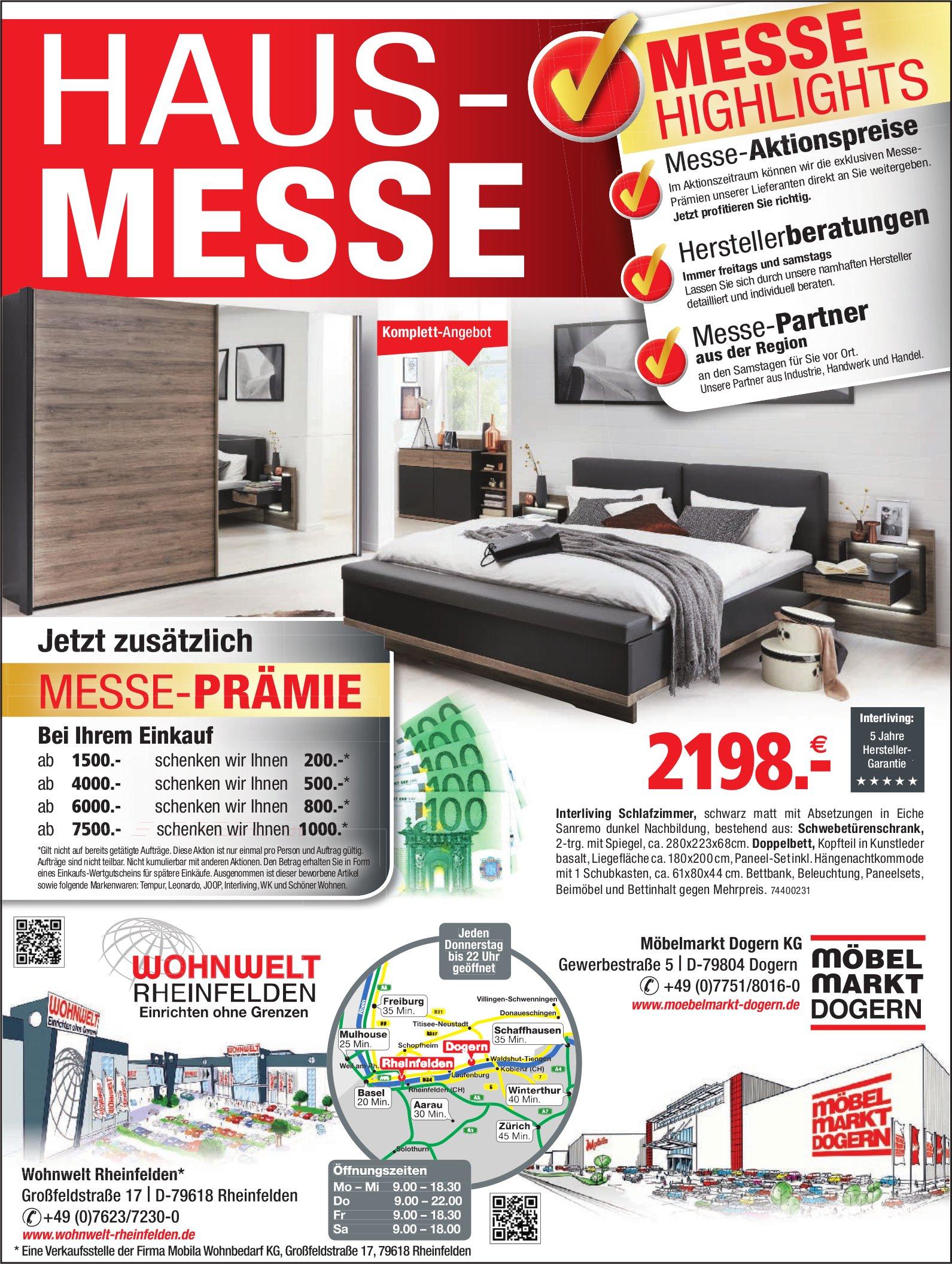 Wohnwelt Rheinfelden Möbelmarkt Dogern Kg Hausmesse