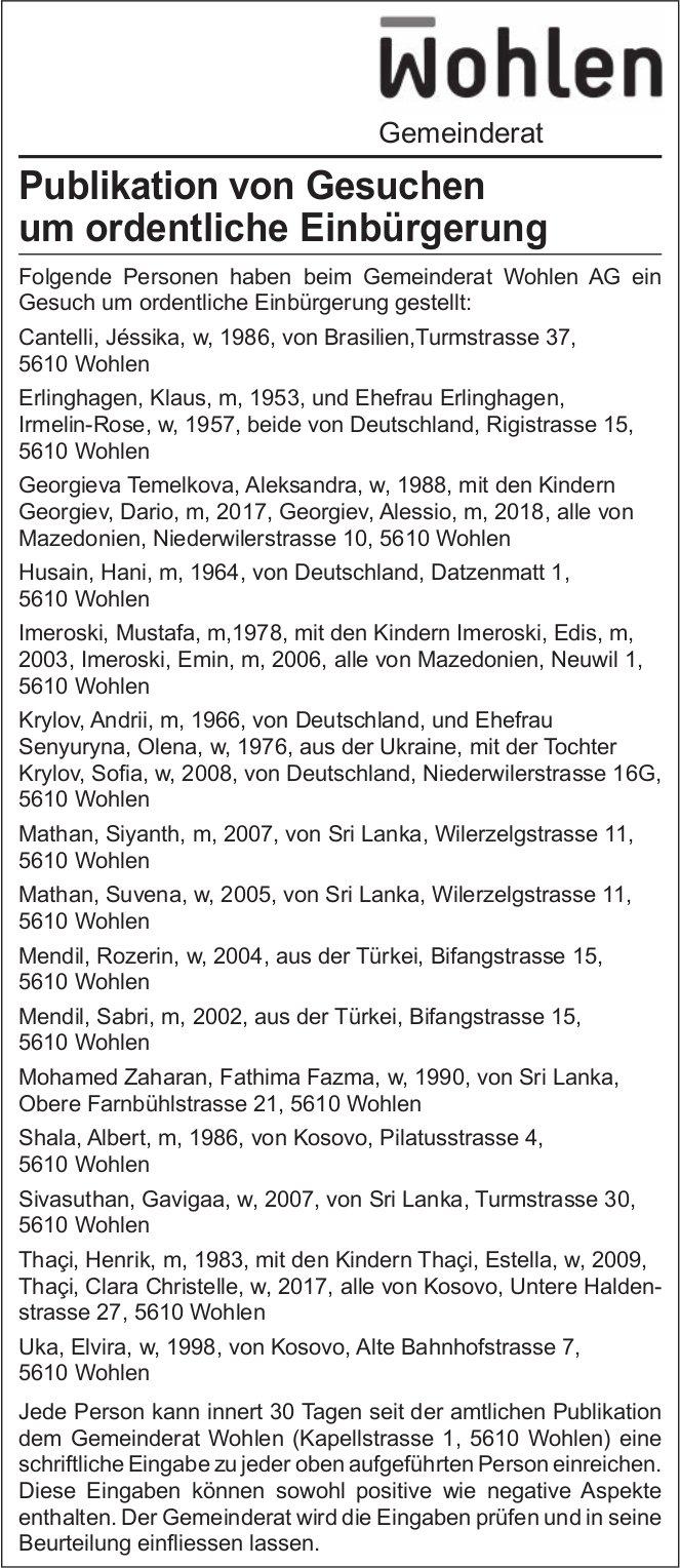 Gemeinderat Wohlen - Publikation von Gesuchen um ordentliche Einbürgerung