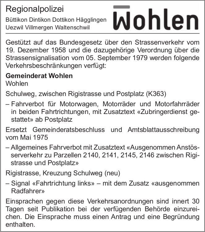 Regionalpolizei Wohlen - Verkehrsbeschränkungen