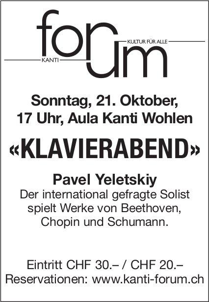 «Klavierabend», 21. Oktober, Aula Kanti Wohlen