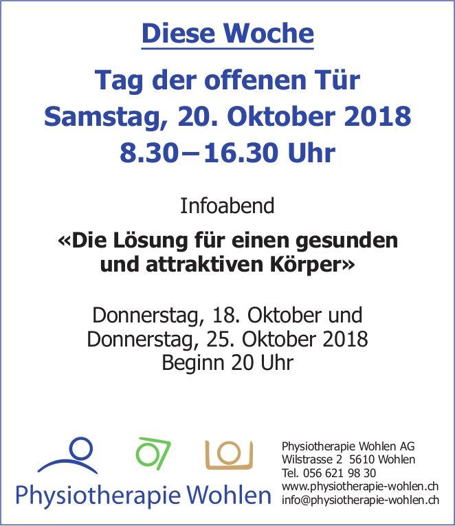 Tag der offenen Tür, 20. Oktober, Physiotherapie Wohlen