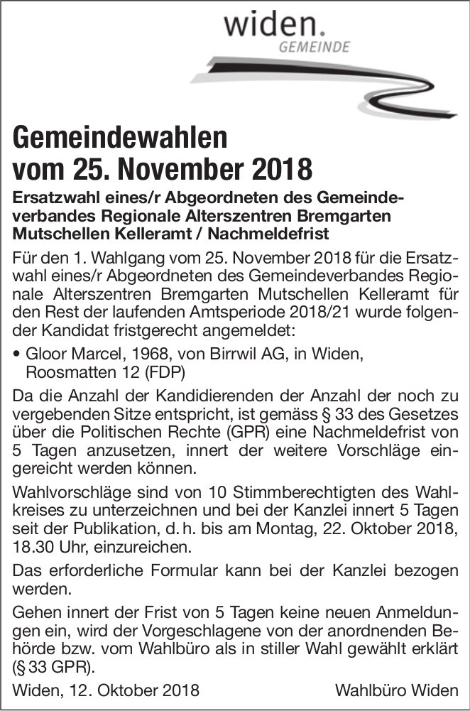 Gemeinde Widen: Gemeindewahlen, 25. November