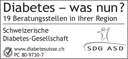 Schweizerische Diabetes-Gesellschaft - Diabetes – was nun ? 19 Beratungsstellen in Ihrer Region